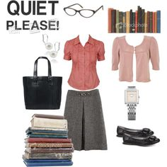 Librarian by bobette on Polyvore featuring Miss Selfridge, Rampage, CÉLINE, Coach, Burberry, Carolee, Kate Spade, watch, tote bag and sweater