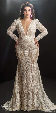 dror kontento 2019 bridal illusion long puff sleeves plunging v neckline fully embellished lace fit flare mermaid wedding dress chapel train 1 mv - Dror Kontento 2019 Plus Size Wedding Dresses Wedding Inspirasi DrorKontento 482019 2019 Plus Size Wedding Dresses With Sleeves, Plus Size Wedding Gowns, Long Wedding Dresses, Long Sleeve Wedding, Bridal Dresses, Modest Wedding, Illusion Wedding Dresses, Homecoming Dresses, Boho Wedding