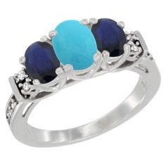 14K White Gold Natural Turquoise and Blue Sapphire Ring 3-Stone Oval Diamond Accent *** Special  product just for you. See it now! : Ring Bands