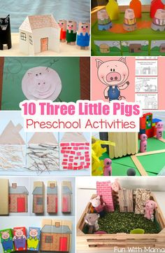10 Three Little Pigs Theme Preschool crafts, activities and printables are perfect to bring this fairy tale to life. Three Little Pig Activities, Three Little Pig Crafts, Book Crafts Rhyming Preschool, Nursery Rhymes Preschool, Preschool Themes, Preschool Activities, Literacy Games, Construction Theme Preschool, Preschool Books, Book Activities, 3 Little Pigs Activities