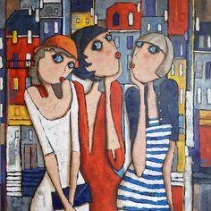By Virginie Matz Pop Art, Art Fantaisiste, Disney Paintings, Cubism Art, Art Et Illustration, Art Design, Whimsical Art, Figure Painting, Abstract Canvas