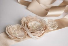 Bridal dress sash with 3 flowers, ivory, beige, nude, cream, lace with swarovski pearls - Sand flowers on Etsy, $41.00