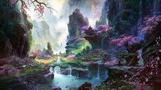 Fantástico mundo de la pintura, los paisajes orientales de primavera Fondos de pantalla - 1920x1080