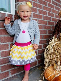 Little Girls Chevron Skirt with Polka Dot