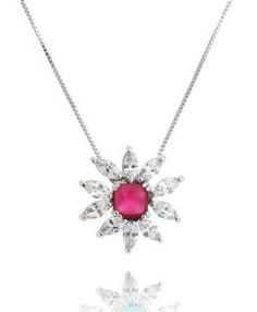 colar de festa rubi com banho de rodio e zirconias cristais semi joias finas