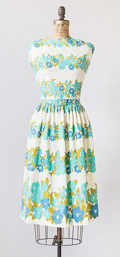 vintage 1960s teal and blue floral summer dress   #vintage #1960sdress #vintagedress