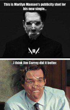 Marilyn Manson Versus Jim Carrey, I think Manson should of used baloney. Laugh A Lot, I Love To Laugh, Make You Smile, Laugh Out Loud, Funny Picture Quotes, Funny Quotes, Funny Pictures, Funny Memes, Hilarious
