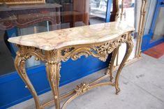 Consolle e specchiera dorate in stile rocaille '900 piano in onice