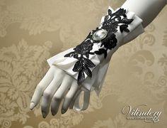 Black and White Bridal Fabric Cuff with clear cut glass crystal, Fantasy, Elegant, Classy Wedding Jewelry, Romantic lolita accessories, Cuff Bracelet, Bridal Fashion https://www.etsy.com/shop/Vilindery