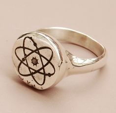 """$100 Blindspotjewellery: """"Atom Ring - Silver"""" wear your Atheism/Love of Science proudly"""