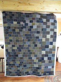 This quilt is made from men's wool suits.