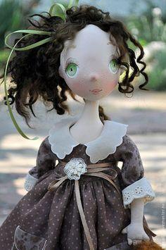 Купить Коллекционная кукла Бекки - коричневый, коллекционная кукла, авторская кукла, текстильная кукла