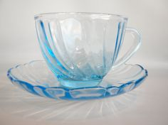 Vintage Clear Blue Glass Teacup and Saucer by oldandnew8 on Etsy, $8.00