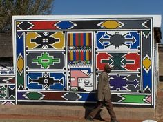 Ndebele (South African) patterns and mural. Tribal Patterns, Tribal Prints, African Patterns, African House, South African Art, Geometric Painting, African Tribes, Egg Art, Africa