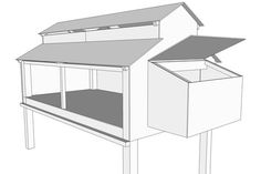 Drawing of chicken coop with nesting box attached