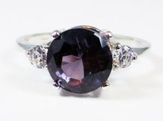 Alexandrite and CZ Ring, 925 Sterling Silver, Engagement Ring, June Birthstone Ring, Lab Alexandrite Ring, Purple Alexandrite Ring