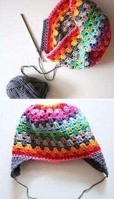 Crochet Granny Square Ideas [Free Crochet Pattern] Adorable Granny Square Stitch Rainbow Beanie by maryann maltby Crochet Cap, Crochet Mittens, Crochet Baby Hats, Crochet Beanie, Crochet Gifts, Crochet Clothes, Free Crochet, Crotchet, Granny Square Crochet Pattern