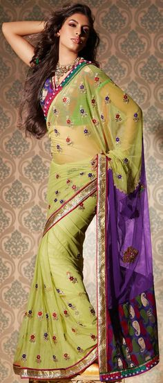 Pastel #Green Net #Saree With #Blouse @ US $193.36 #netsaree #snapdeal #India