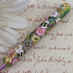 polymer clay covered crochet hook