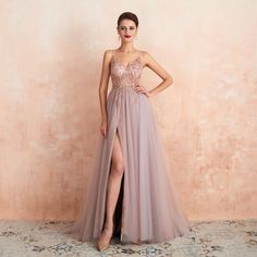 Pink Beaded Prom Dresses Long Elegant See Through A Line Split Tulle V Neck Spaghetti Strap Evening Gown Walk Beside You Sexy Dresses, Royal Blue Prom Dresses, Cheap Evening Dresses, Cheap Prom Dresses, Evening Gowns, Formal Dresses, Formal Prom, Gown With Slit, Vestidos Sexy