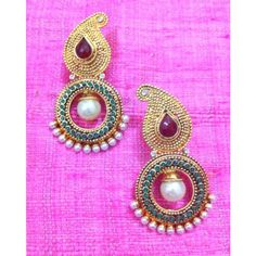 Red green stone paisley pearl golden polki earring , indian bollywood ha70rg - Online Shopping for Earrings by The ADIVA