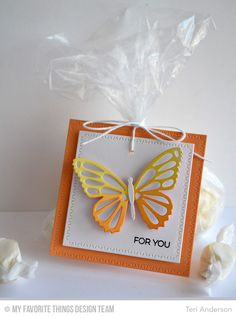 For You Butterfly - Scrapbook.com - Die cut cardstock into squares for a fun card to top a gift.