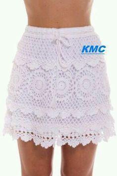 Enagua Crochet Skirts, Knit Skirt, Crochet Clothes, Thread Crochet, Crochet Lace, Crochet Hooks, Crochet Bathing Suits, Crochet Bikini Top, Crochet Woman