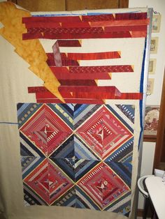 Blue and red string quilt