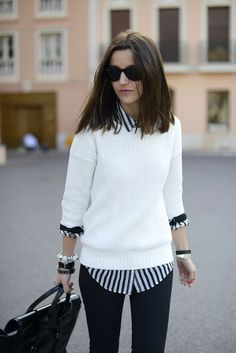 @roressclothes closet ideas #women fashion outfit #clothing style apparel White Sweater and Striped Shirt via