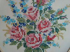 Vintage Cross Stitch Floral Rose Bouquet Oval Frame by Vintiquer