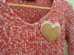 Upcycled Sweater Stitched Heart Applique Red and by talkOfThetown