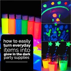 Diy glow in the dark party. Great for boys and girls birthday parties.