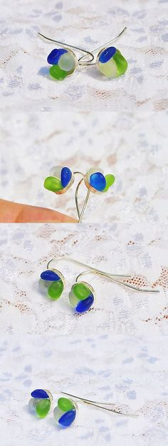 Beach Glass - Surf-Tumbled 41221: Sea Glass Jewelry Beach Wire Earrings Sterling Flowers Cobalt Lime White 9822C -> BUY IT NOW ONLY: $35.99 on eBay!