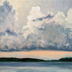 """Cloudscape over the Lake Oil - 10x10"""" Framed size - 16x16"""""""