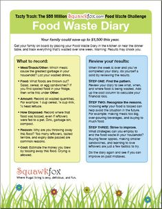 Keep a Food Waste Diary to see what you're throwing out (and why), and how much that waste ends up costing you!