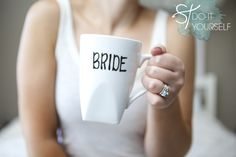 DIY Bride & Groom mugs...What a great gift idea for them to use the morning after the wedding...If I could get in to their room, then I could set up a coffee bar for them...