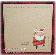 Handmade Christmas Card - Santa using kraft