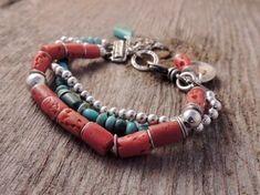 Southwestern Bracelet, Three Strand Bracelet, Handmade Artisan Jewelry, Artisan Silver, Coral, Turquoise, Silver, Sundance Style, Rustic #handmadesilverjewelry