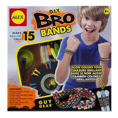 BRO BANDS: Make friendships bracelets for your bros and buds! In glow and neon, too! 15 bracelets, 2 styles and lots of patterns. Includes foam loom, suction hook, 14 colors of embroidery floss including 3 glow and 3 neon colors, and easy instructions.