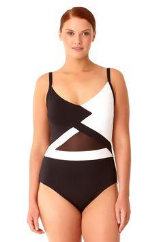 27432bec8a1 Anne Cole Women s Plus Size That s A Wrap Color Blocked Mesh V Neck One  Piece Swimsuit