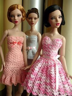 Crocheted dresses for fashion dolls