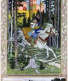 "Illustration for the Russian Fairy Story ""Maria Morevna"", 1900 - Ivan Bilibin Ivan Bilibin, Retro Poster, Vintage Posters, Vintage Art, Art And Illustration, Illustrations, Russian Folk, Russian Art, Art Nouveau"