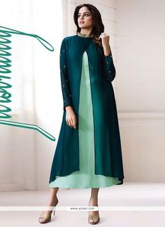 Opulent Georgette Green Designer Kurti Model: YOKU571