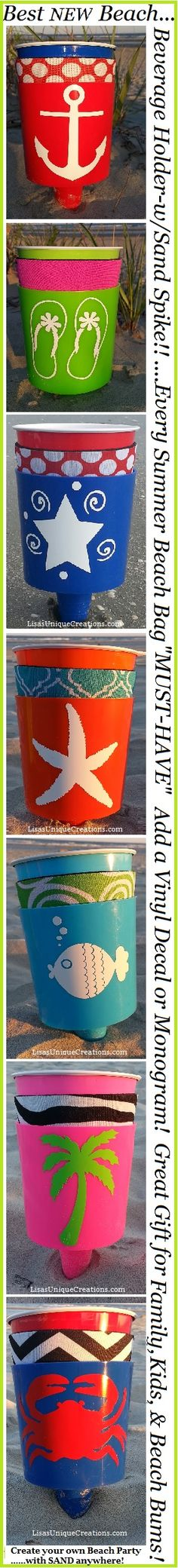 """This Summers Newest """"IT"""" item!  Sand Spike BEACH DRINK HOLDER w/Neoprene Coozie & Vinyl Decal!  Too Cute & ADORABLE!!! www.LisasUniqueCreations.com"""