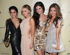 Selena Gomez at the Weinstein Company's 2013 Golden Globe Awards After Party with Vanessa Hudgens, Ashley Tisdale, and Sarah Hyland.