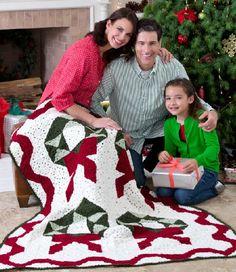 Red Heart® Wreath Throw #christmas #crochet #pattern