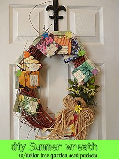 #diy #Spring #summer wreath with #Dollar #tree #garden seed packets