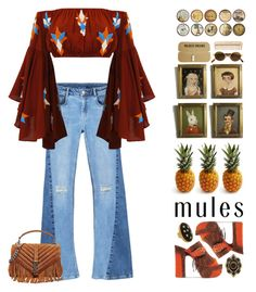 """Mules"" by doga1 ❤ liked on Polyvore featuring MANGO, Ash, Yves Saint Laurent, Gucci, Allison Daniel, Black Apple, INC International Concepts, Moschino and The Body Shop"