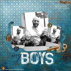 """My Boys"" Digital Scrapbooking Layout by Erica Hite using ScrapHappy Dynamo Pattern Brushes: Menswear Twins EH01"