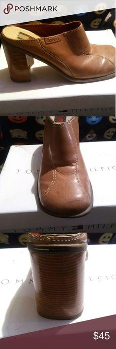 LEATHER MULES..size 10 BEAUTIFUL LEATHER HEELED MULES..SIZE 10 Tommy Hilfiger Shoes Mules & Clogs